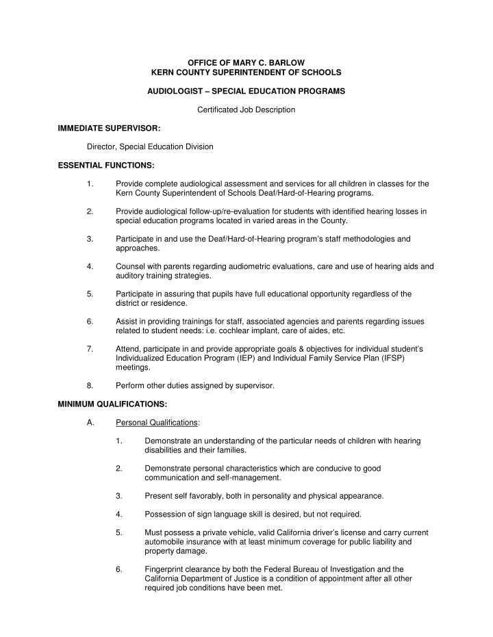 immediate supervisor director special education
