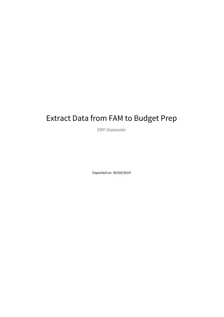 extract data from fam to budget prep