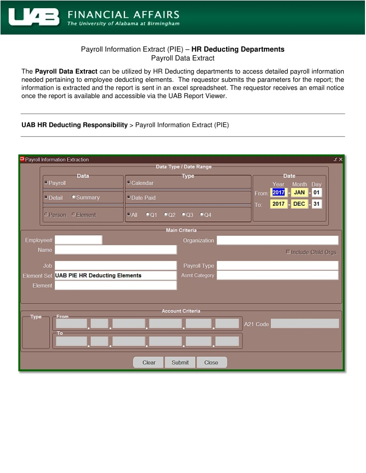 payroll information extract pie hr deducting
