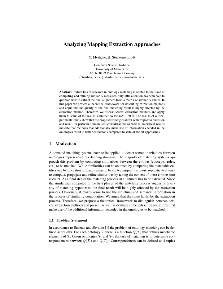 analyzing mapping extraction approaches