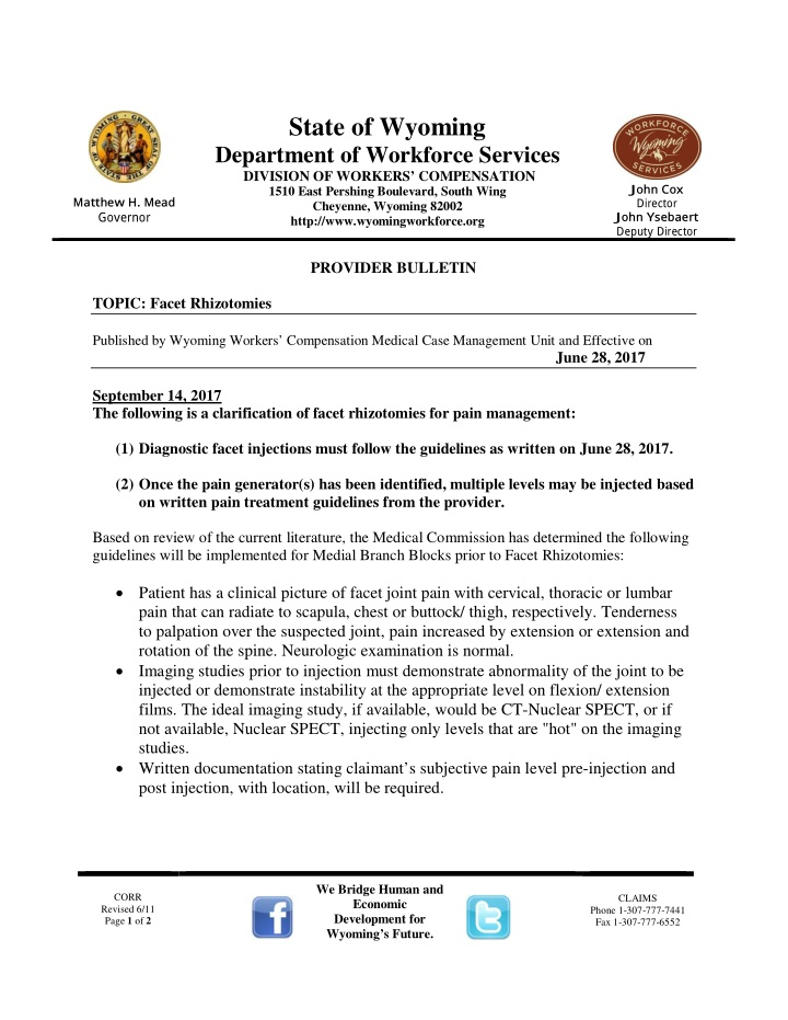 state of wyoming department of workforce services