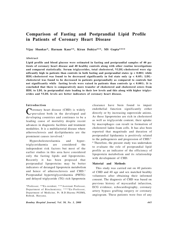 comparison of fasting and postprandial lipid