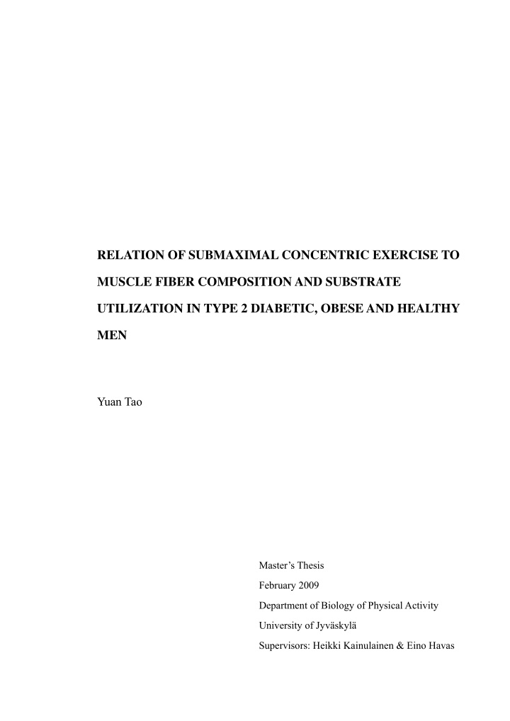 relation of submaximal concentric exercise to