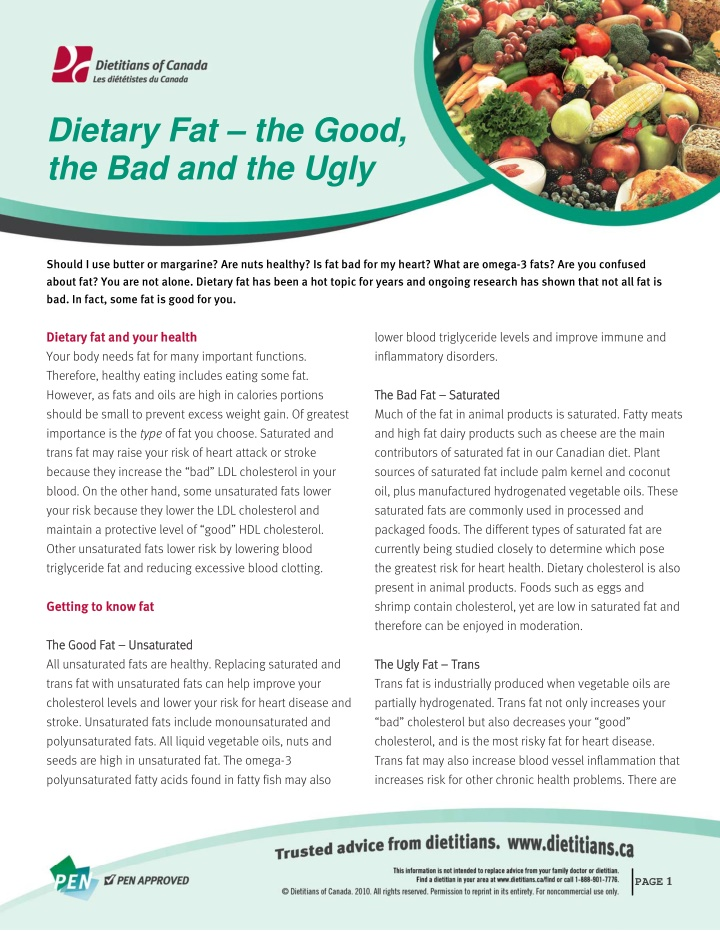 dietary fat the good the bad and the ugly