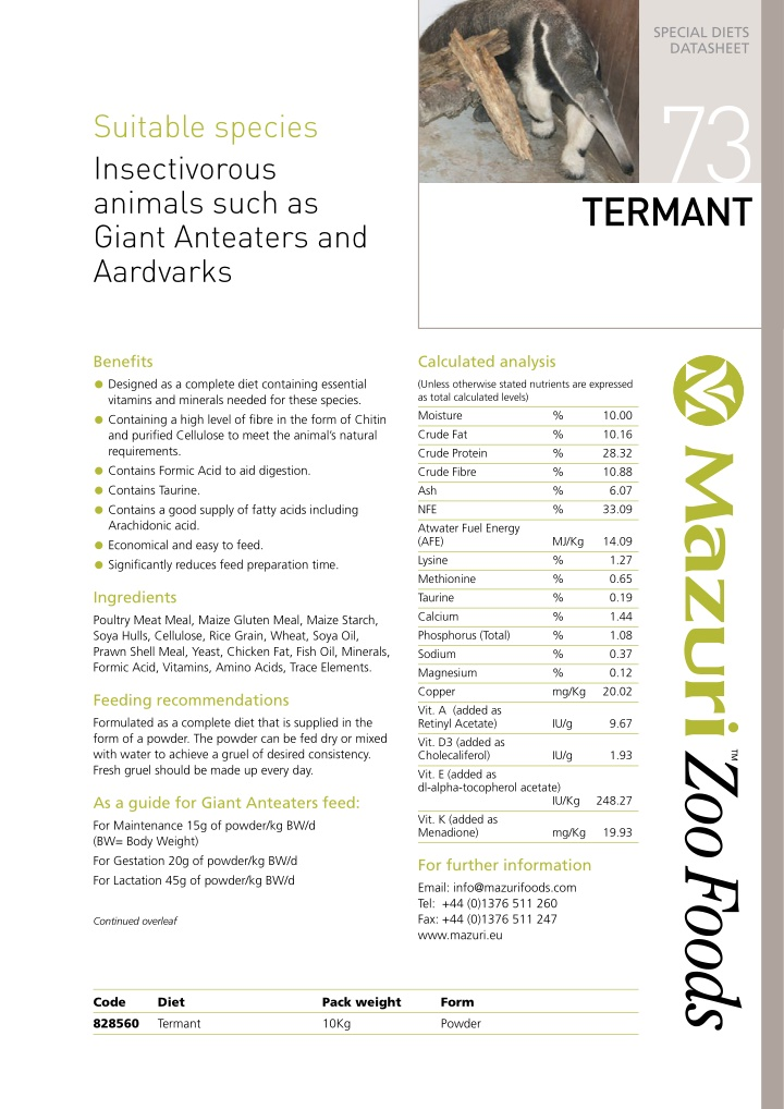 special diets datasheet 73