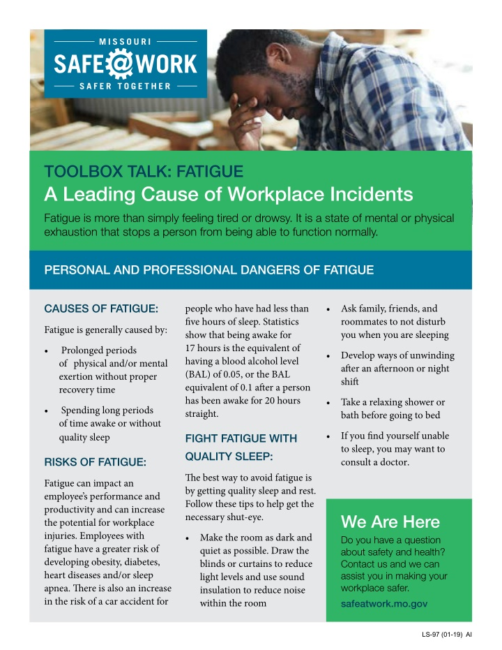 toolbox talk fatigue a leading cause of workplace