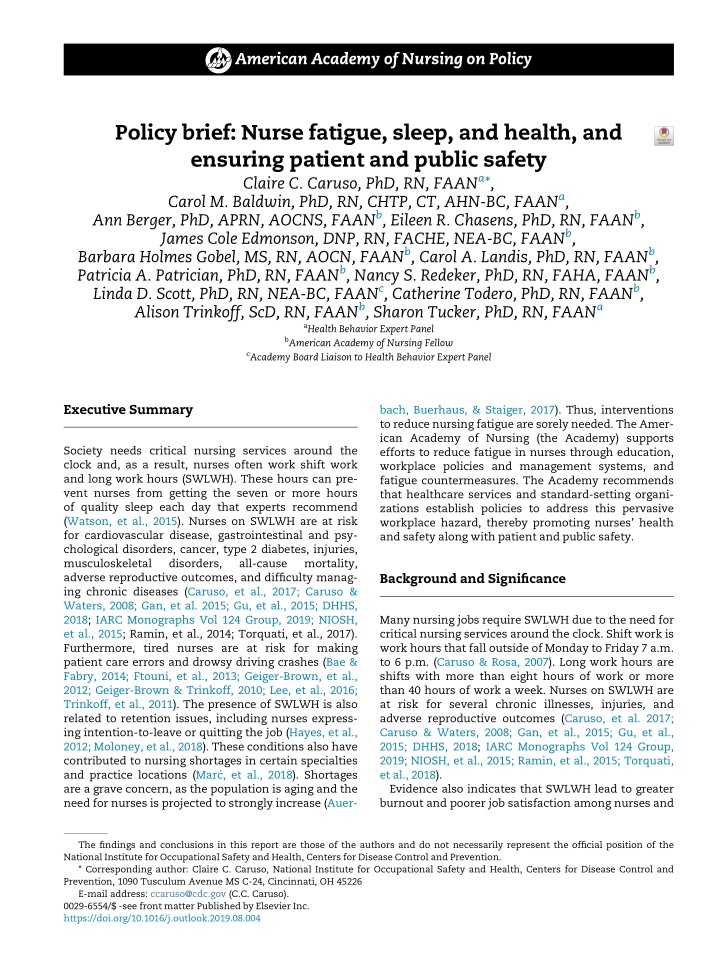 american academy of nursing on policy