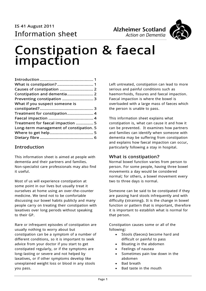 i s 41 august 2011 information sheet constipation