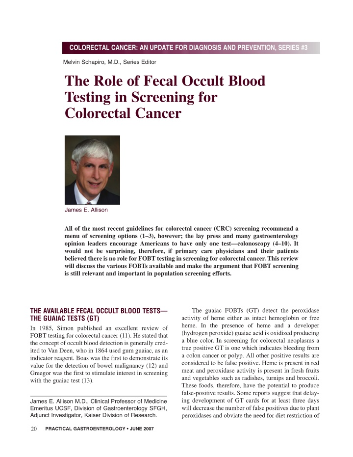 colorectal cancer an update for diagnosis