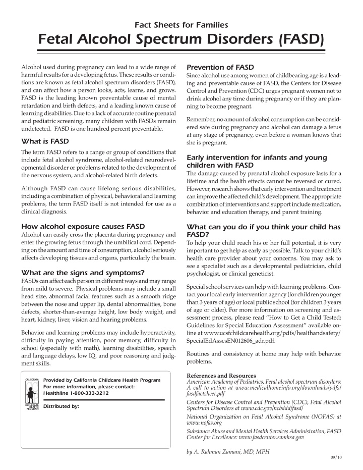 fact sheets for families