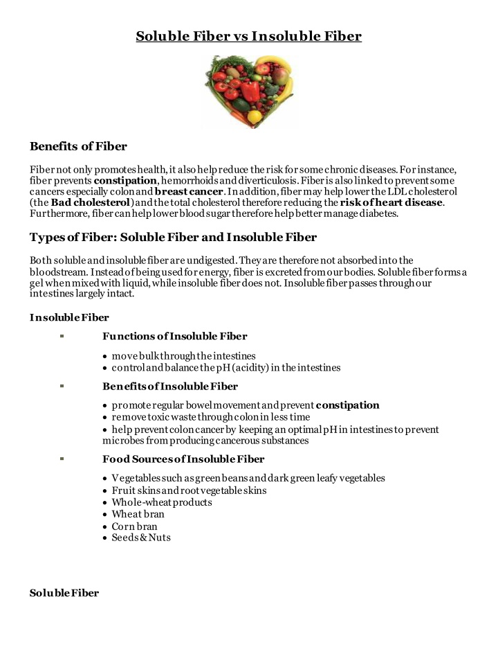 soluble fiber vs insoluble fiber