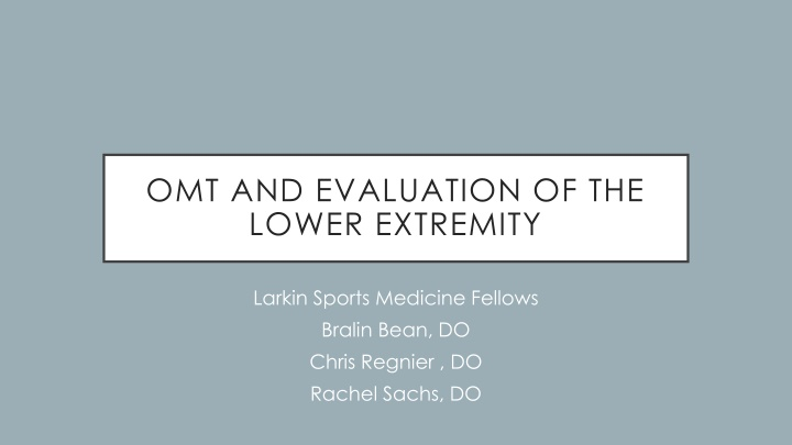 omt and evaluation of the lower extremity