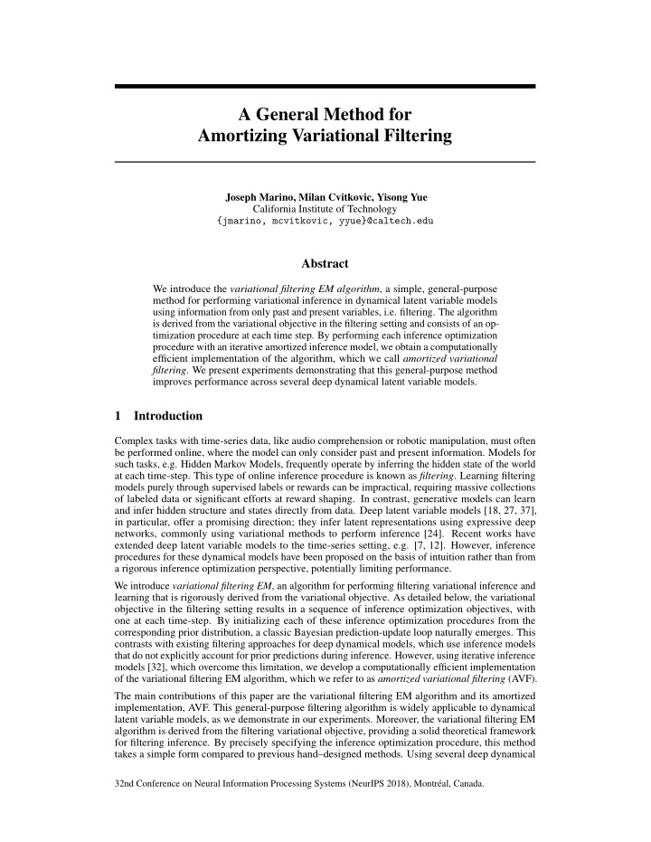 a general method for amortizing variational