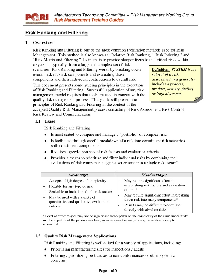 manufacturing technology committee risk