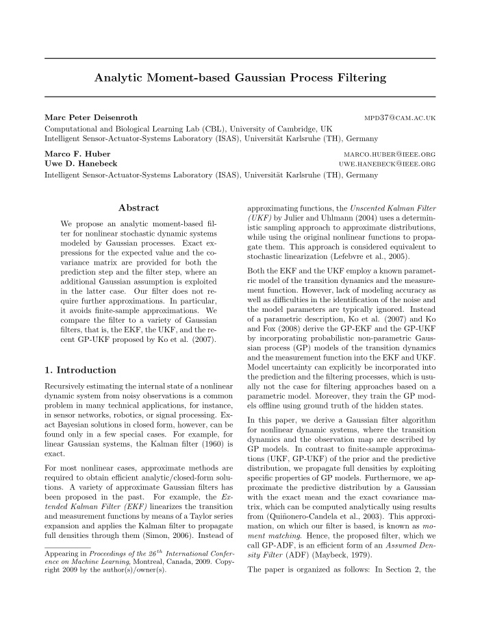 analytic moment based gaussian process filtering