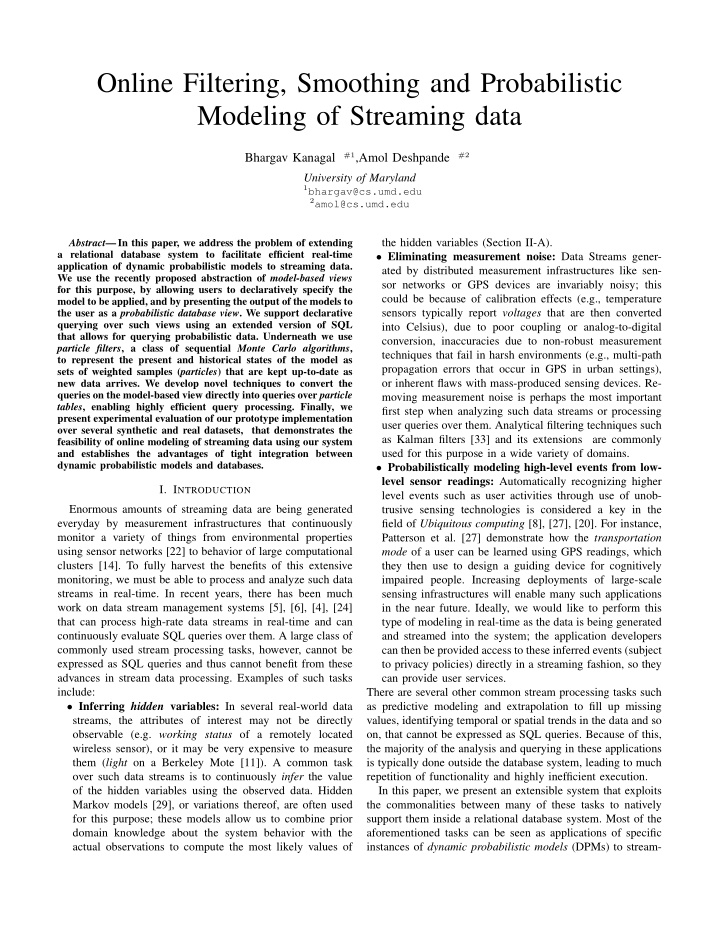 online filtering smoothing and probabilistic