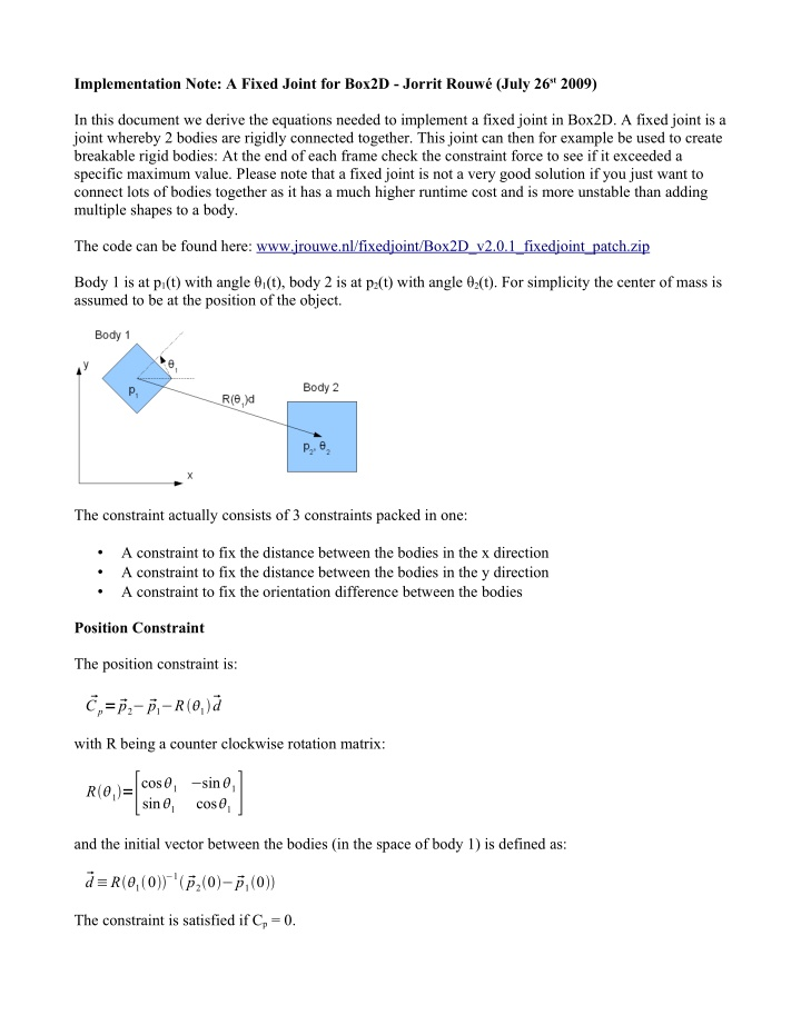 implementation note a fixed joint for box2d