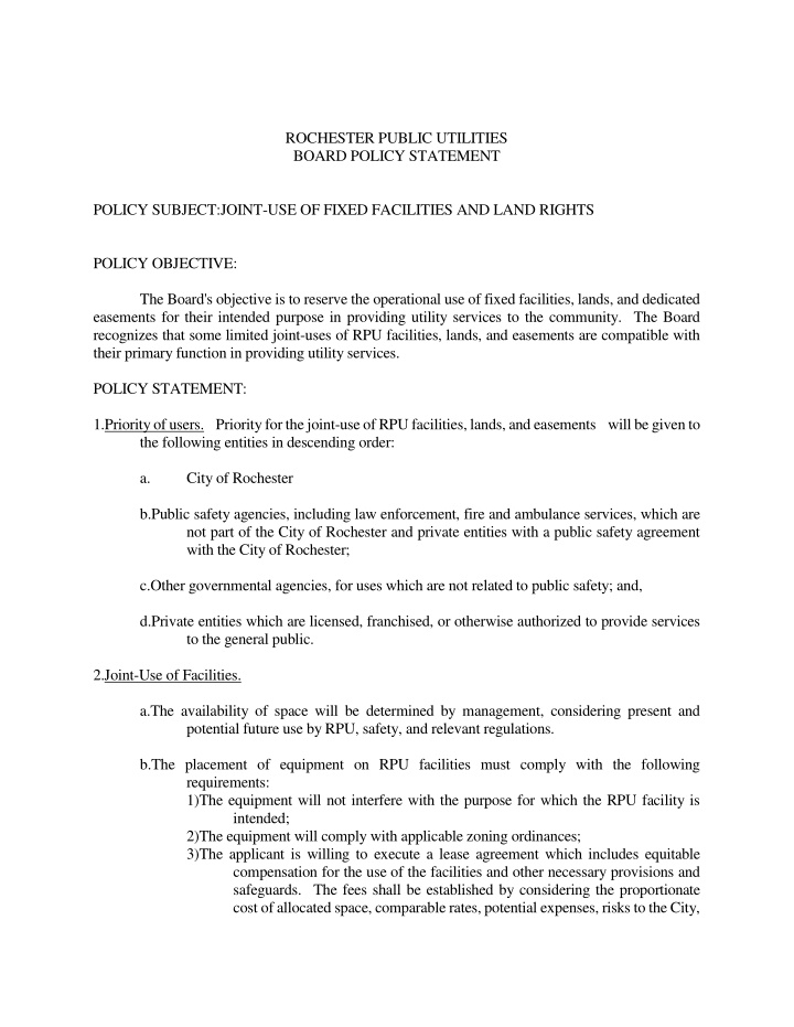 policy subject joint use of fixed facilities