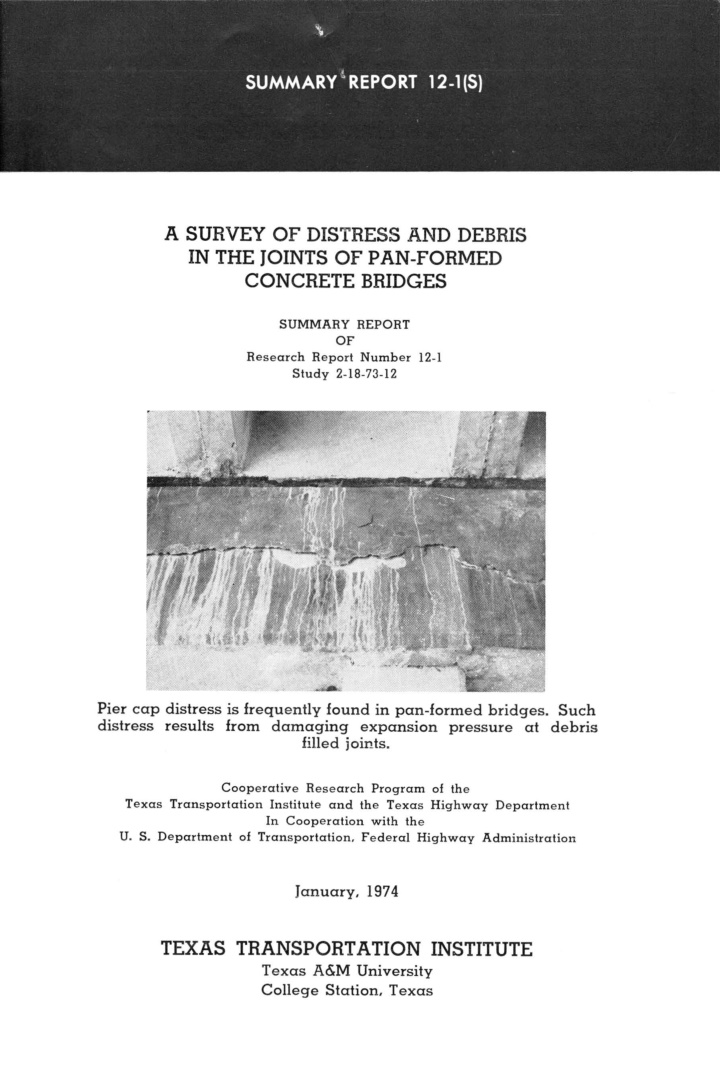 a survey of distress and debris in the joints