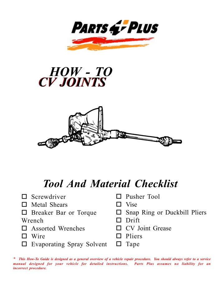 how to cv joints cv joints