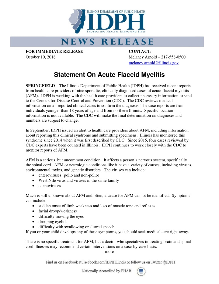 for immediate release october 10 2018 statement