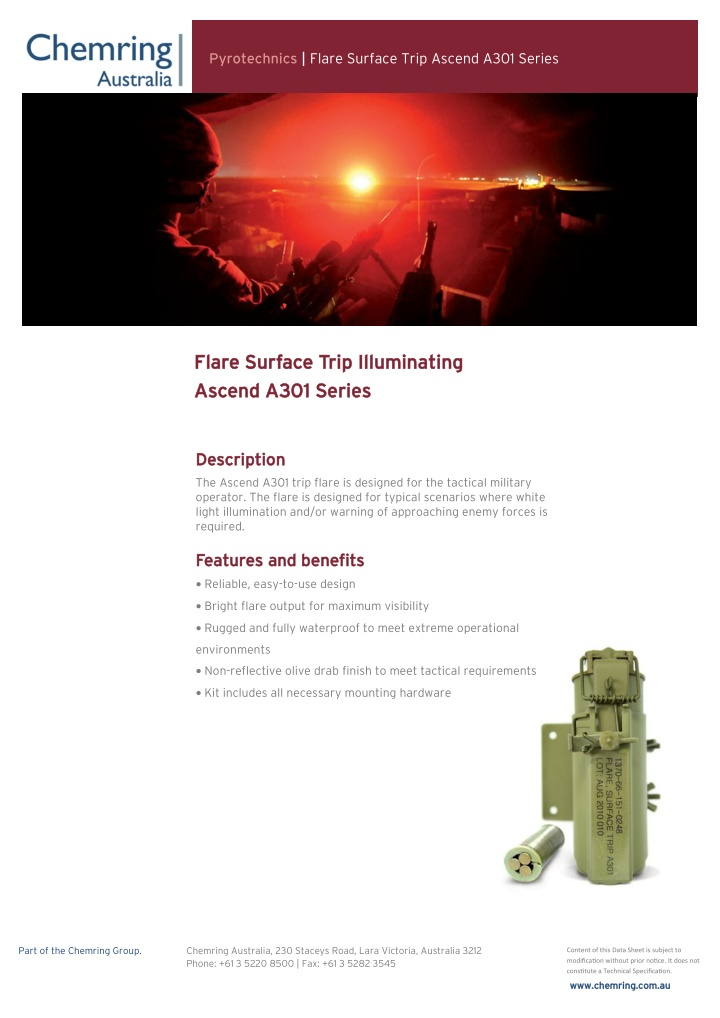 pyrotechnics flare surface trip ascend a301 series