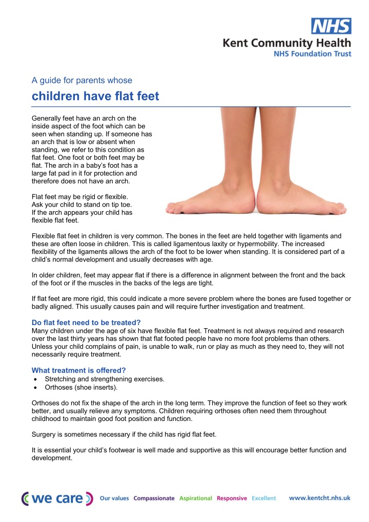 a guide for parents whose children have flat feet