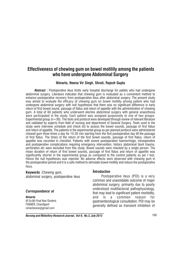 effectiveness of chewing gum on bowel motility