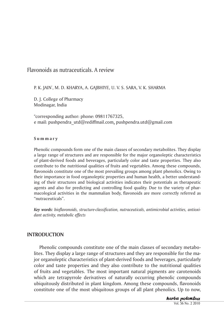 flavonoids as nutraceuticals a review