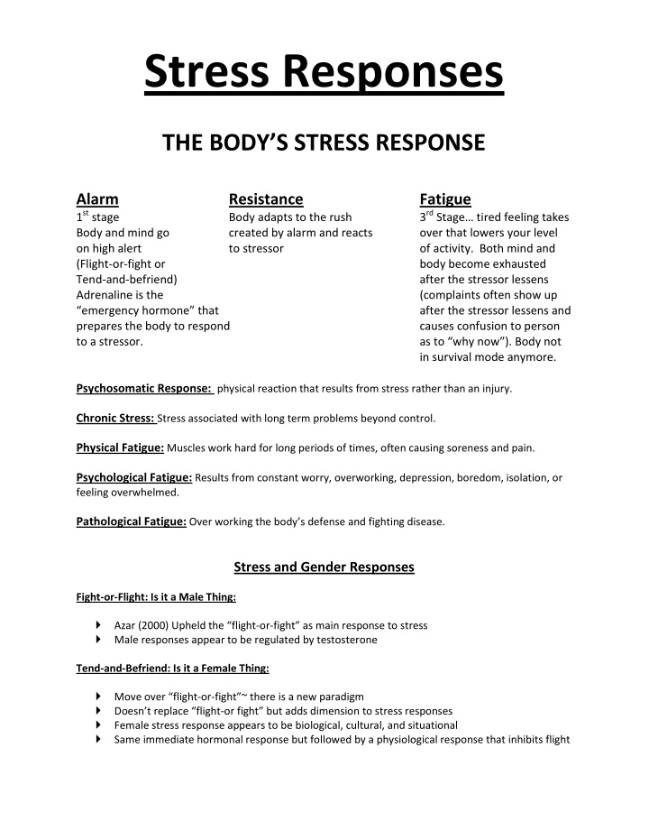 stress responses the body s stress response