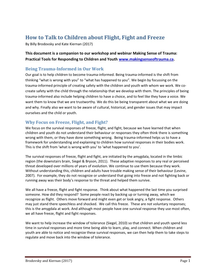 how to talk to children about flight fight
