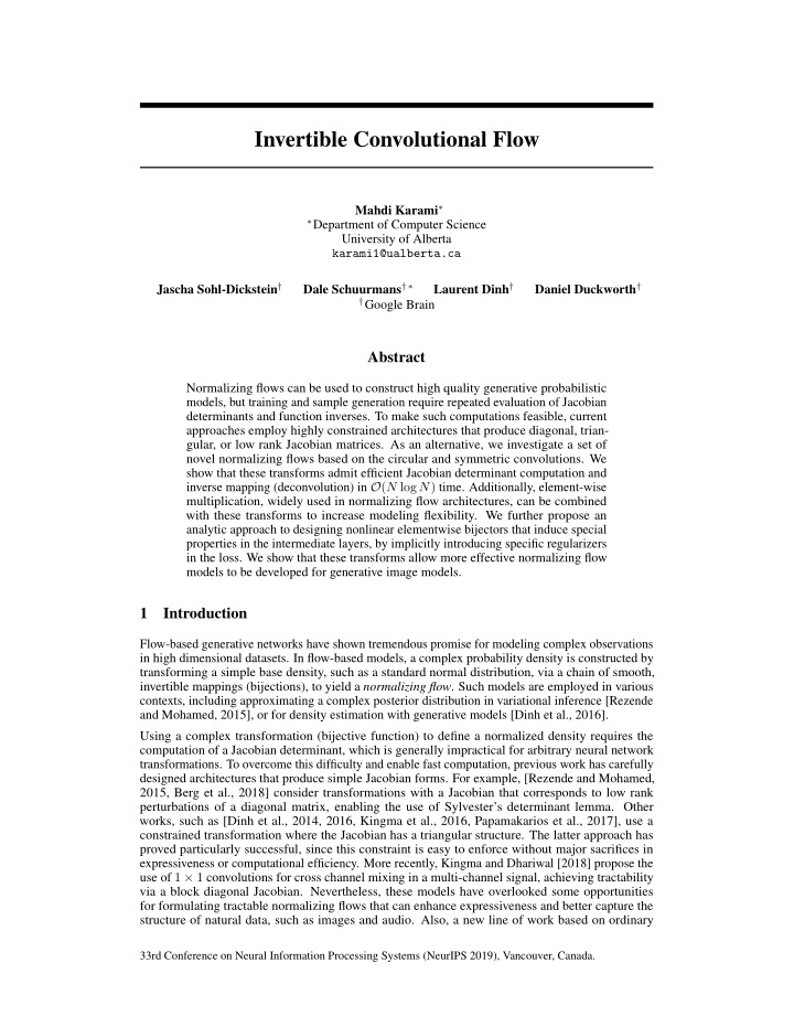 invertible convolutional flow