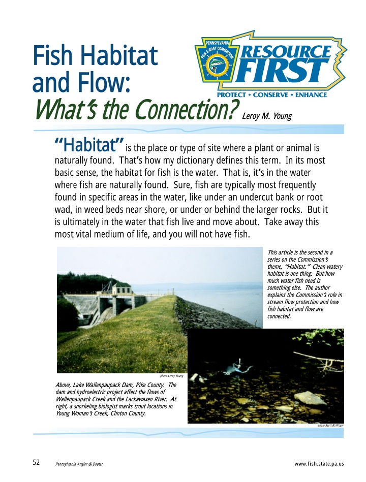 fish habitat and flow what s the connection leroy