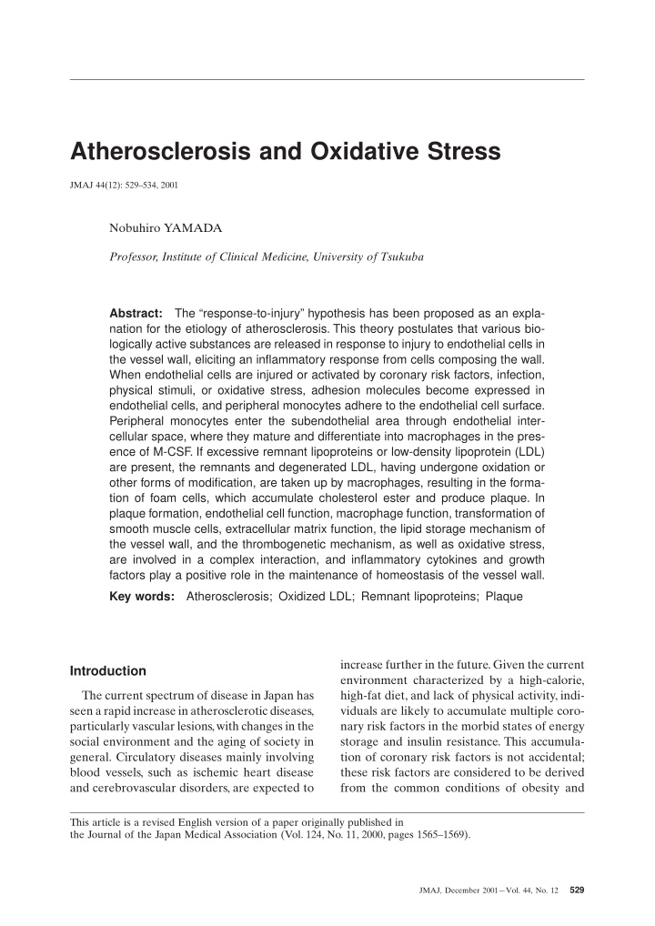 atherosclerosis and oxidative stress