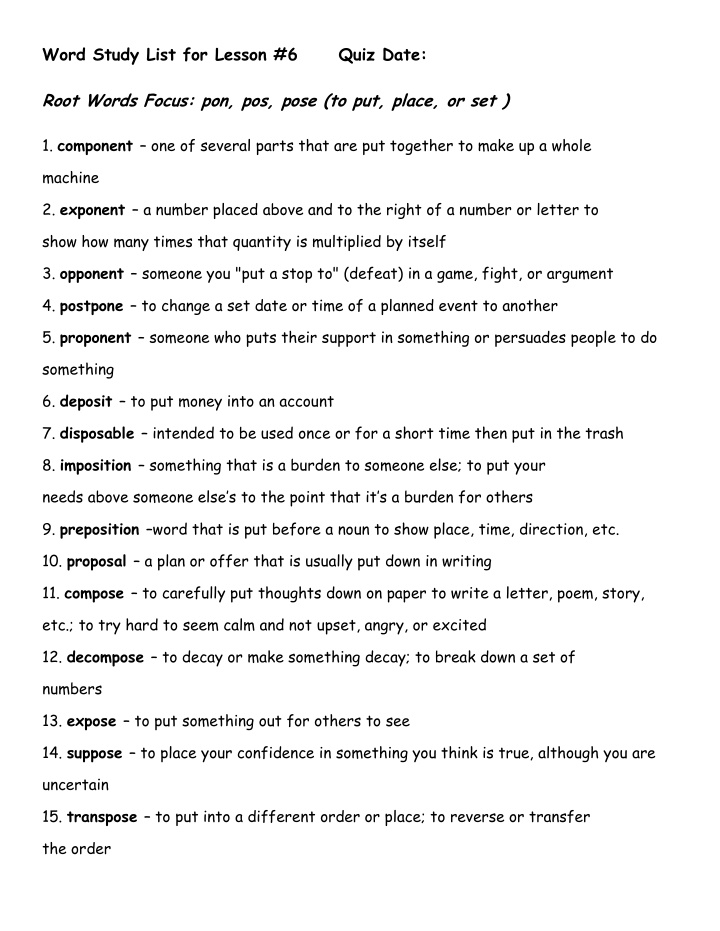 word study list for lesson 6 root words focus