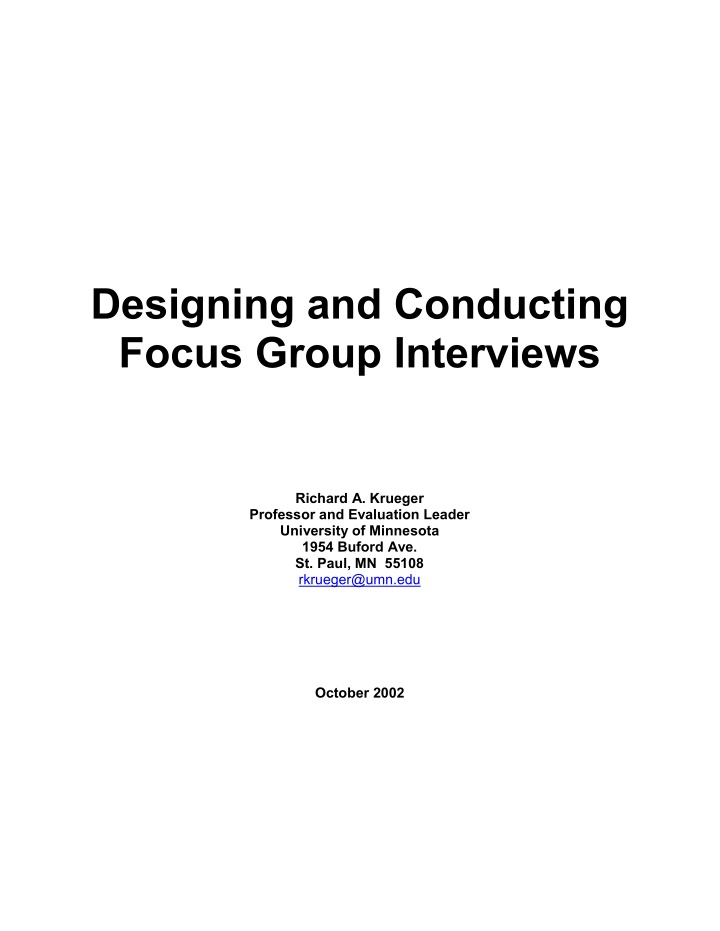 designing and conducting focus group interviews