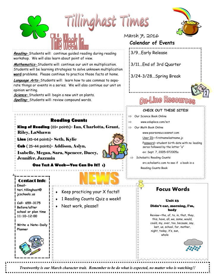 march 7 2016 march 7 2016 calendar of events