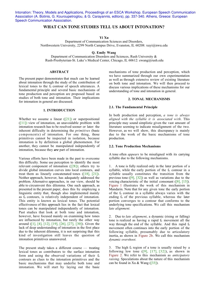 intonation theory models and applications