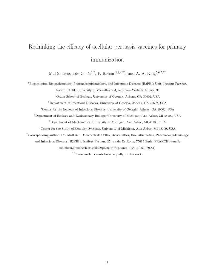 rethinking the e cacy of acellular pertussis