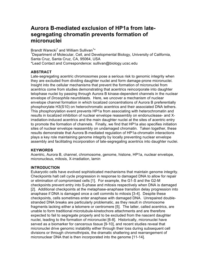aurora b mediated exclusion of hp1a from late