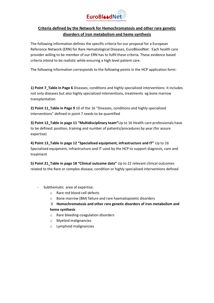 criteria defined by the network