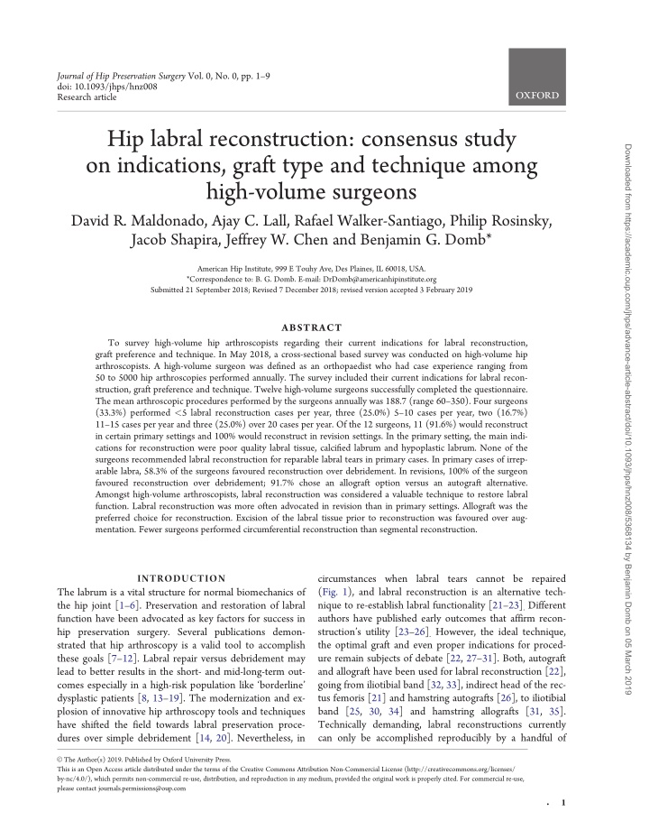 journal of hip preservation surgery