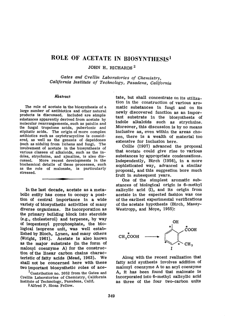 role of acetate in biosynthesis 1