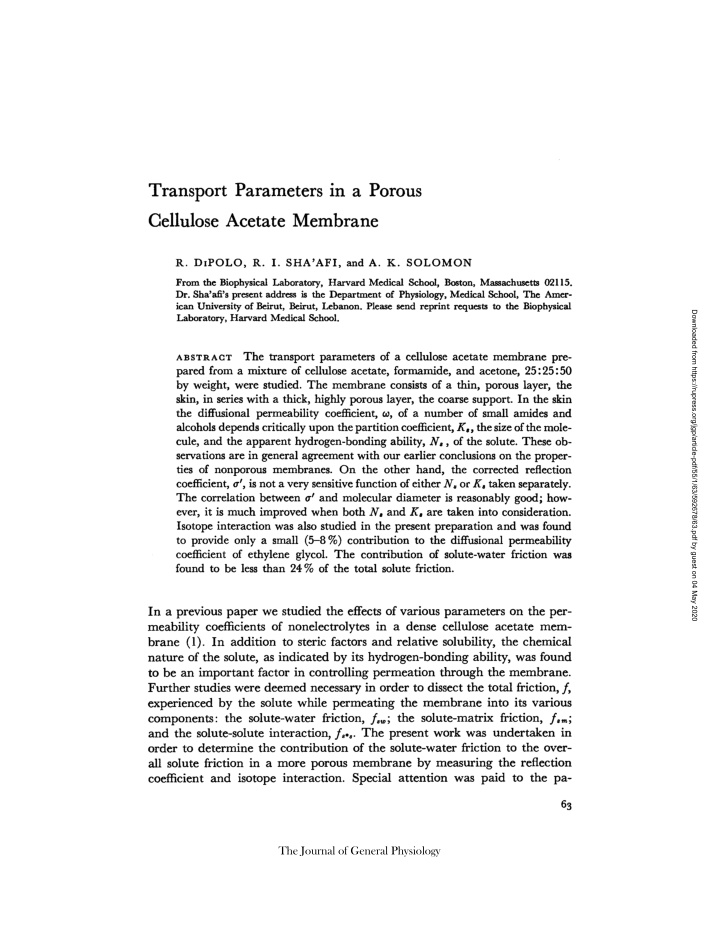 transport parameters in a porous