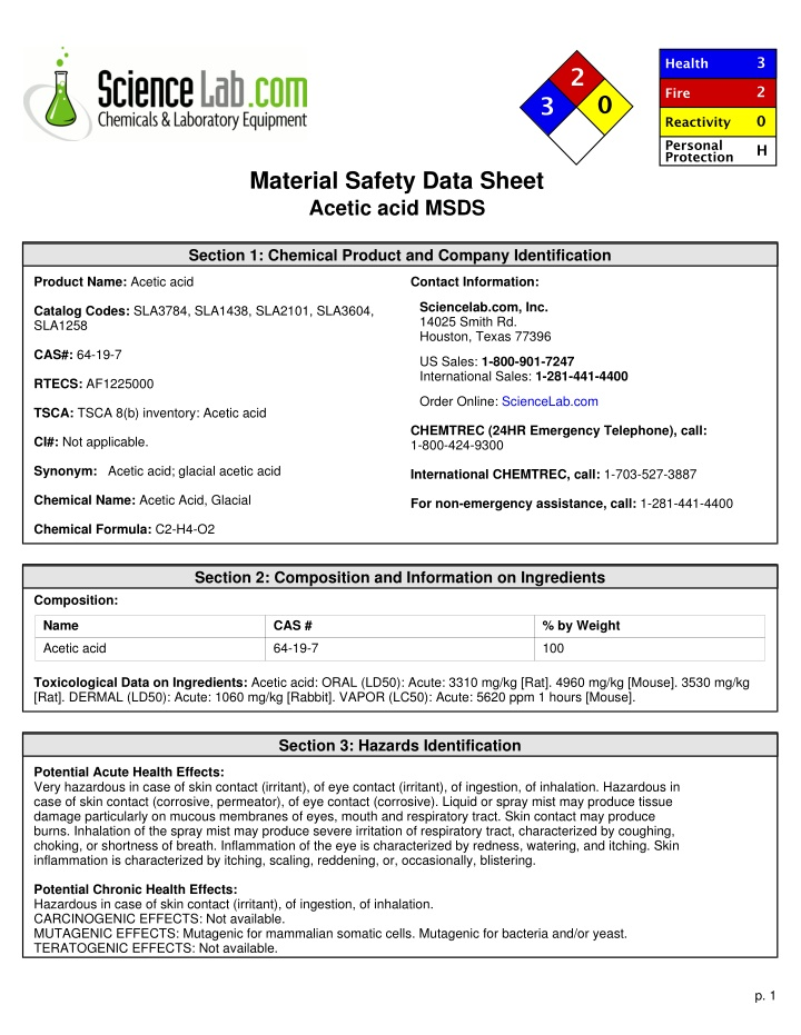 material safety data sheet acetic acid msds