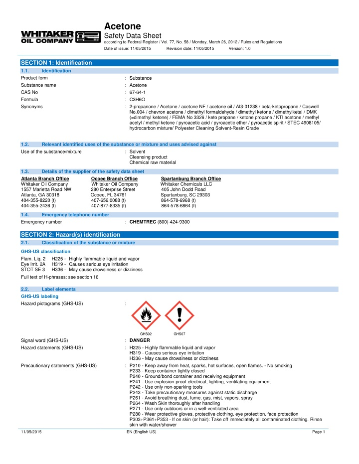 acetone safety data sheet according to federal