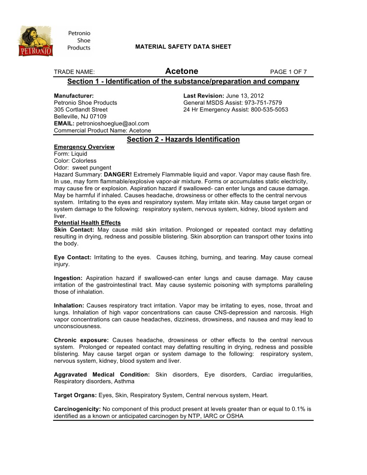 material safety data sheet acetone page