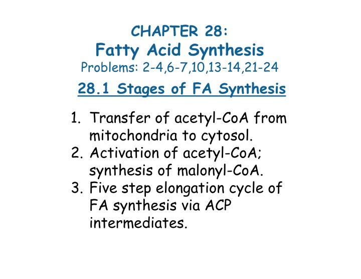 chapter 28 fatty acid synthesis problems