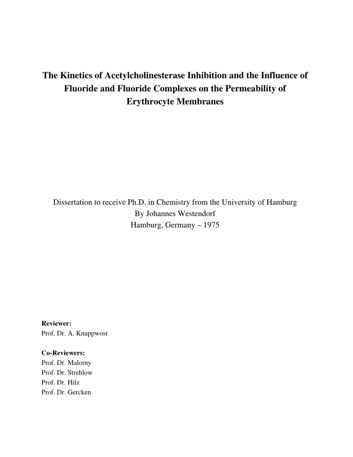 the kinetics of acetylcholinesterase inhibition
