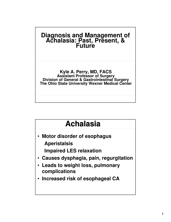 diagnosis and management of achalasia past